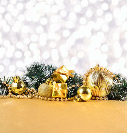 the silvery: Christmas decorations on a bokeh silvery background