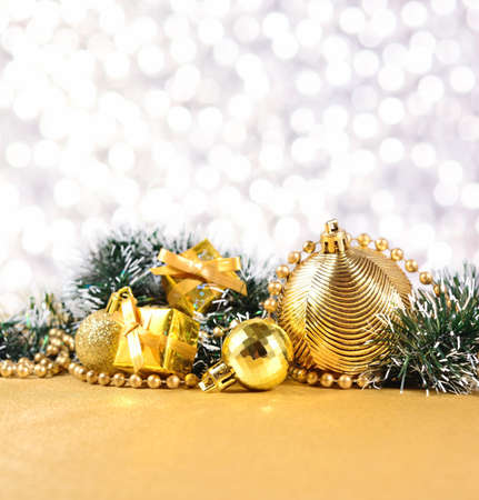 silvery: Christmas decorations on a bokeh silvery background