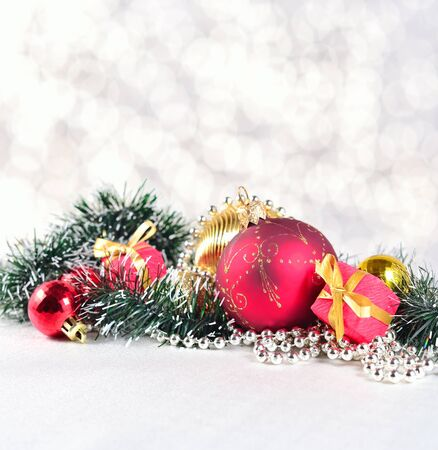 the silvery: Christmas decorations on a silvery bokeh background