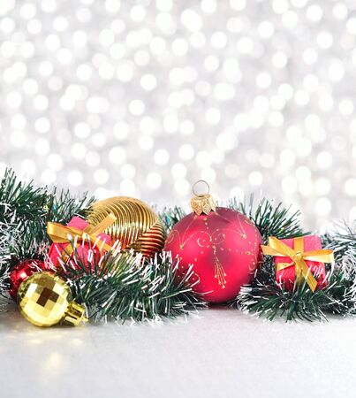 silvery: Christmas decorations on a silvery bokeh background