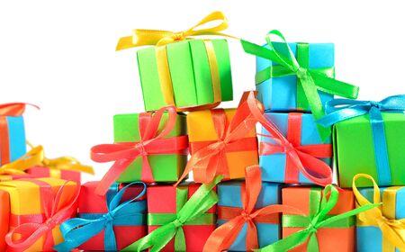 cadeaux Colorful gros plan sur un fond blanc