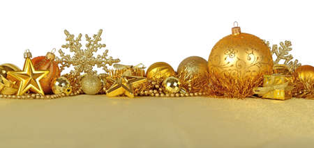 christmas decorations with white background: Golden Christmas decorations on a white background