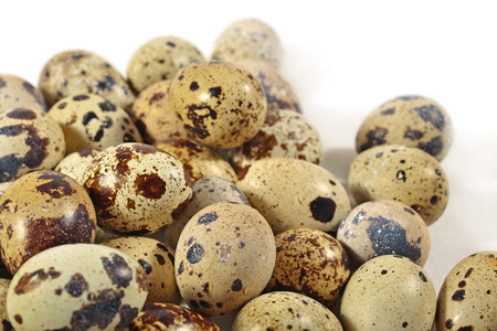 Quail eggs close up on a white background