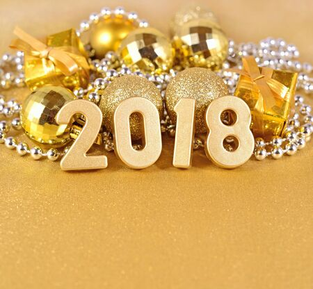 newyear: 2018 year golden figures and Christmas decorations