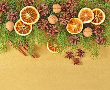 is green: Dried oranges and cones and spruse branch on a golden background