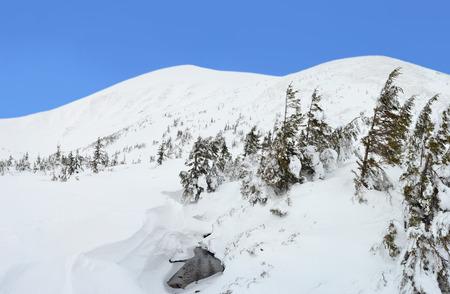 Winter mountain landscape in the Carpathians, Ukraine Stock Photo
