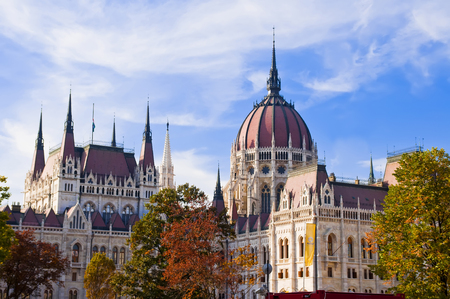 parliamentarian: Front of parliament budapest city Stock Photo