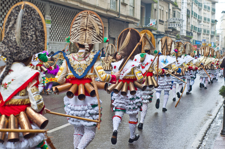 collide: VERIN, SPAIN- JANUARY,31 , 2016   Carnival Verin in Galicia Spain one of the most ancient in the world