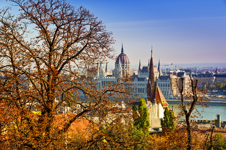 Budapest Parliament view from across the Danube in autumn 写真素材