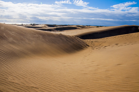 obody: View on sunny Maspalomas dunes in Gran Canaria in daytime. Cloudy sky on background. Stock Photo