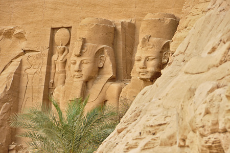 below: gyptian monument called Abu Simbel from below.