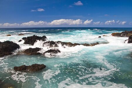 seashores: Scenic view on seashore with reef. Waves covered with foam.