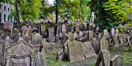 Tombstones in the Jewish cemetery in Prague Editorial