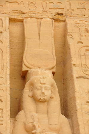 from below: gyptian monument called Abu Simbel from below.