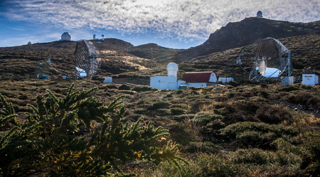 View on large daytime telescope in Canary islands Stock Photo