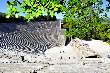 view of the amphitheater of the ruins of argolida in the peloponnese region Stock Photo