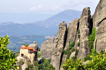 Meteora Monasteries located north of Greece in the region of Thessaly Stock Photo