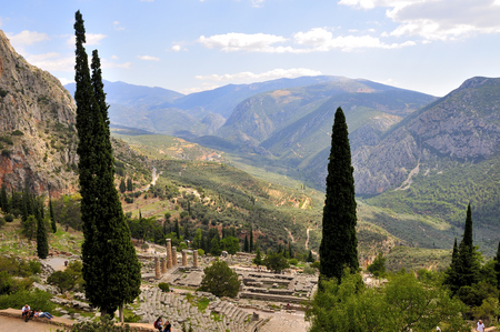 delphi: Ancient ruins of delphi in greece on a sunny day