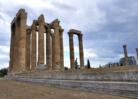 olympus: Temple of Zeus in Athens Greece built in honor of the god Zeus Olympus