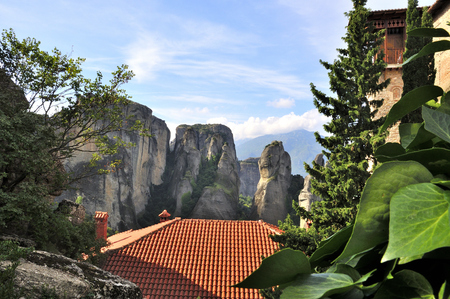 kalambaka: Meteora Monasteries located north of Greece in the region of Thessaly Stock Photo