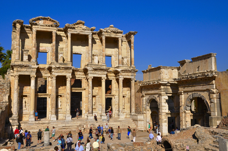 EPHESUS, TURKEY SEPTEMBER. 27, 2016 Tourists visiting the ruins of Ephesus in Turkey from the preserved megas of Asia Minor being one of the most visited places in the world and considered of world interest