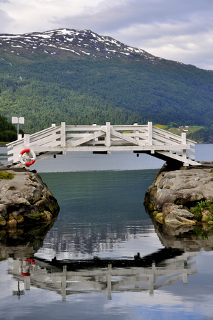 views of the loen village in norway with its fjord Stock Photo