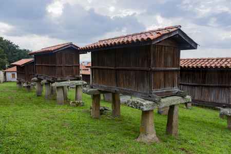 Galician hórreo construction of agricultural use destined to dry, cure and store corn and other cereals very typical in Galicia Spain