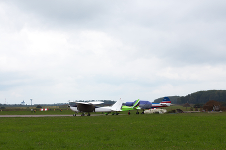 county side: Private jet is parked on a summer day