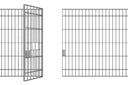 confined: prison bars on a white background Stock Photo