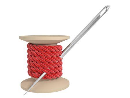 hilo rojo: carrete de hilo con una aguja sobre un fondo blanco Foto de archivo