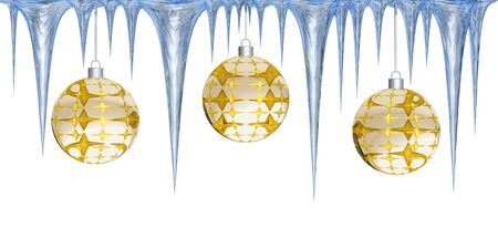 icey: Christmas balls and icicles on a white background