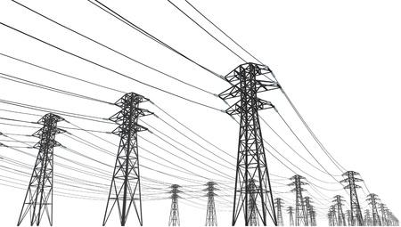 torres de alta tension: línea eléctrica sobre un fondo blanco Foto de archivo
