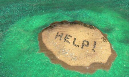 sand writing: desert island