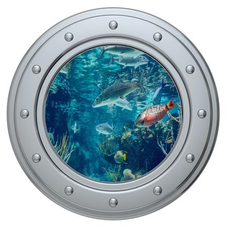 porthole on a white background Stock Photo