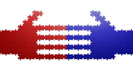 puzzling: Puzzle handshake Stock Photo