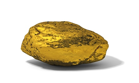 raw gold: gold nugget on a white background