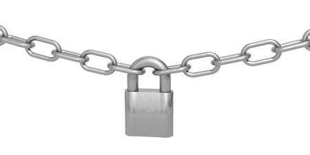 lock and chain: padlock and chain on a white background
