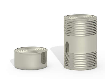 can food: tin can on a white background Stock Photo