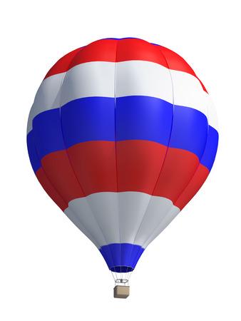 bandera rusia: globo de aire caliente sobre un fondo blanco Foto de archivo