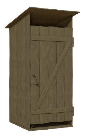 latrine: wooden toilet on a white background Stock Photo