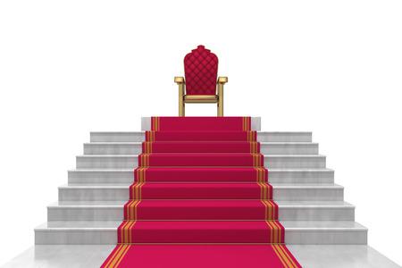 trono: escaleras en un fondo blanco Foto de archivo