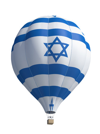 flag of israel: hot air balloon on a white background
