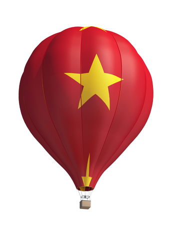 vietnam flag: hot air balloon on a white background