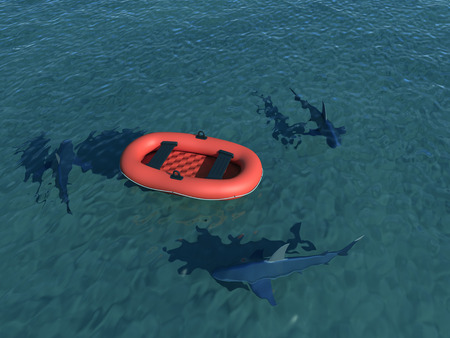 raft: inflatable boat Stock Photo
