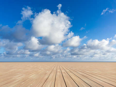 wooden floors: background with wooden floors and sky Stock Photo