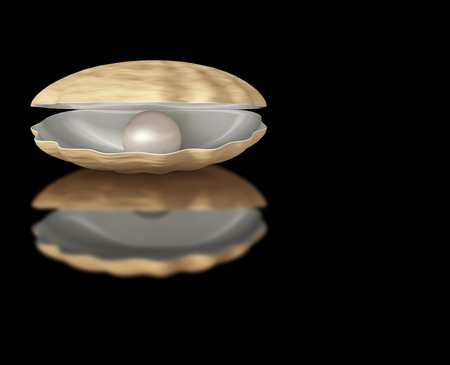 ostra: perlas sobre un fondo negro