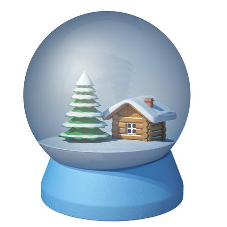 boule de neige: boule de neige sur un fond blanc Banque d'images