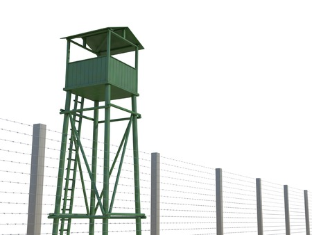 barb wire isolated: Guard Tower on a white background