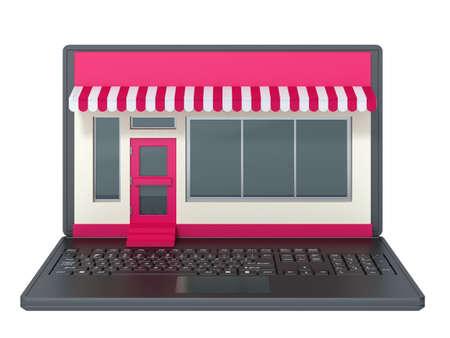 comercio: ordenador portátil sobre un fondo blanco
