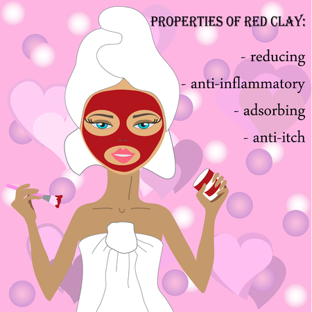 natural beauty masks, cosmetic mask of clay. Red  mask of clay. natural cosmetic mask